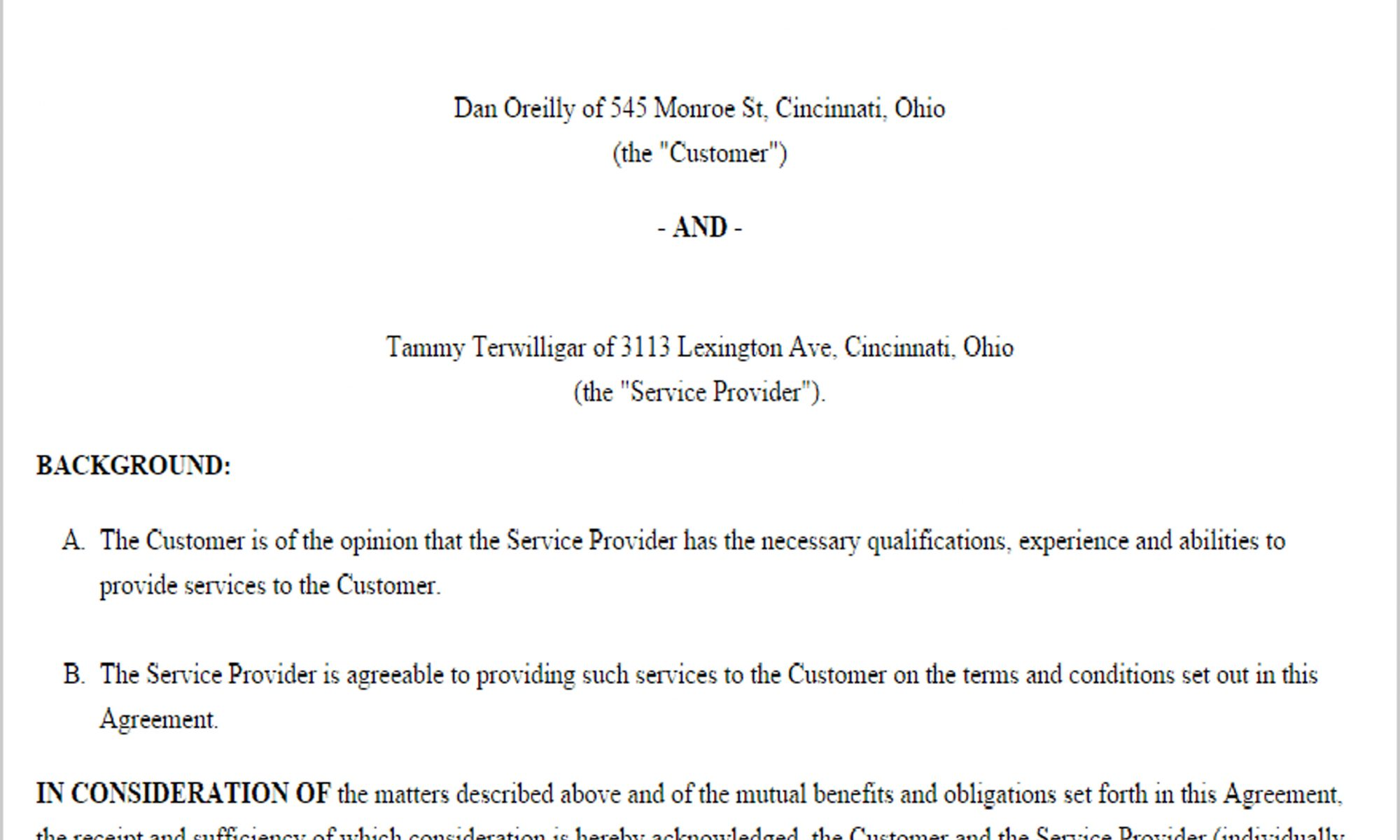 Business Agreement Template  Business Agreement Templates
