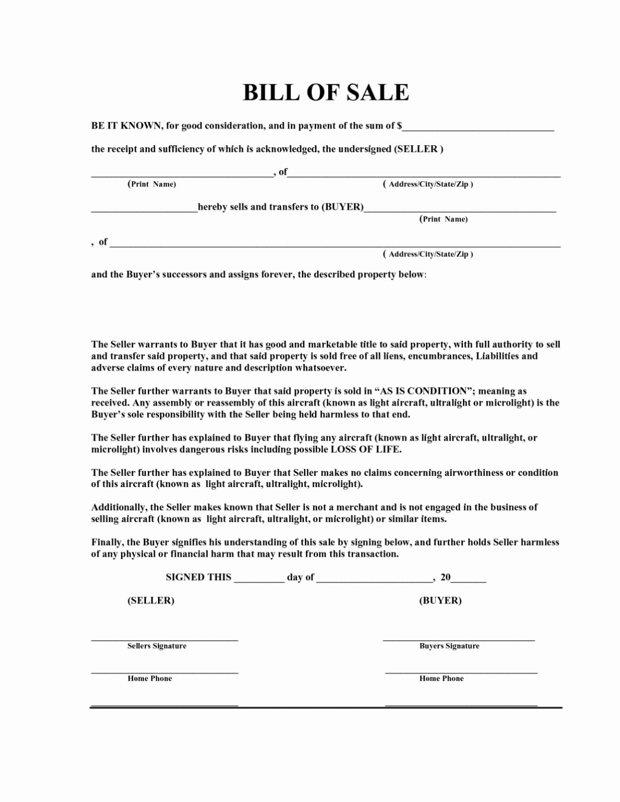 Auto Bill Of Sale